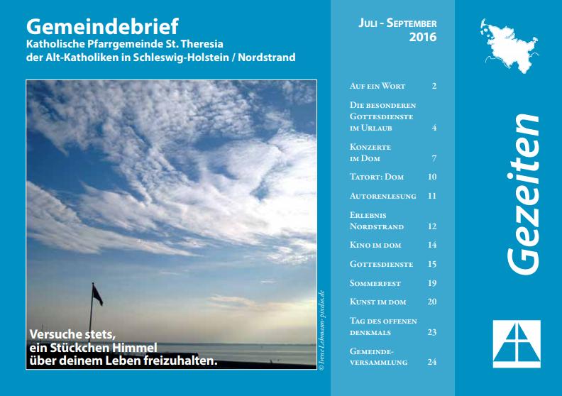 Gemeindebrief Juli bis September 2016
